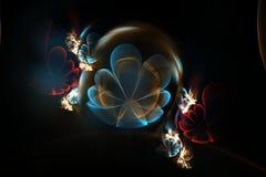 Fleurs 3d abstraites dans une sphère en verre Fractale dans des couleurs bleues et rouges Images stock