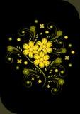 Fleurs d'or abstraites sur le fond noir Illustration de Vecteur