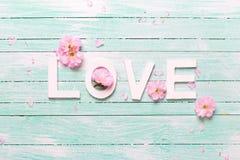 Fleurs d'amour et d'offre de Word Photo libre de droits