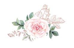 Fleurs d'aquarelle illustration, feuille et bourgeons floraux Composition botanique pour la carte de voeux de épouser ou illustration stock