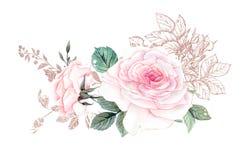 Fleurs d'aquarelle illustration, feuille et bourgeons floraux Composition botanique pour la carte de voeux de épouser ou illustration libre de droits