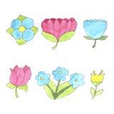 Fleurs d'aquarelle réglées, éléments mignons de conception Image libre de droits