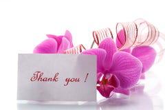 Fleurs d'orchidée avec gratitude Images stock