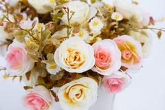 Fleurs dans des pots blancs sur le fond blanc Photos libres de droits