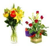 Fleurs dans divers vases Photos libres de droits