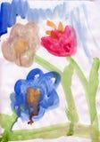 Fleurs dans la peinture d'enfant Photographie stock