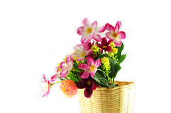 Fleurs dans le panier Photos stock