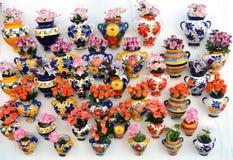 Fleurs dans le pot de fleurs sur le mur Photographie stock