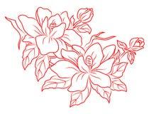 Fleurs dans le rétro type chinois illustration libre de droits