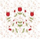 fleurs dans le style folklorique fleurs ornementales stylisées illustration de vecteur