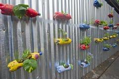 Fleurs dans un bac de réutilisation sur le mur photographie stock