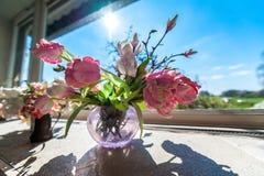 Fleurs dans un vase devant la fenêtre avec le ciel bleu images stock