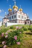 Fleurs décoratives sur la cathédrale de fond de l'hypothèse Photo libre de droits
