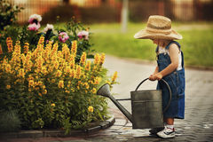 Fleurs de arrosage de petit garçon Image stock
