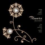 Fleurs de bijoux d'or Image stock