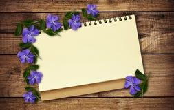 Fleurs de bloc-notes et de bigorneau Images libres de droits