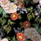 Fleurs de bouquet d'aquarelle Modèle sans couture floral sur un fond noir illustration de vecteur