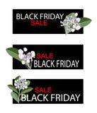 Fleurs de Calotropis Gigantea sur la bannière de vente de Black Friday Image stock