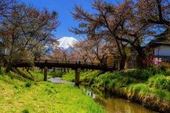 fleurs de cerisier au village d'Oshino Hakkai photo stock