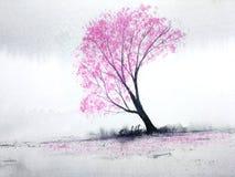Fleurs de cerisier d'arbres de rose de paysage d'aquarelle ou feuille de Sakura tombant au vent en colline de montagne avec le ch illustration libre de droits