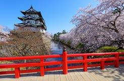 Fleurs de cerisier et château de Hirosaki Photos stock