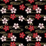 Fleurs de cerisier et modèle japonais de courant illustration stock