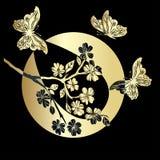 Fleurs de cerisier et papillon de brindille Photographie stock libre de droits