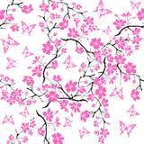 Fleurs de cerisier et papillon de brindille seamless Images stock