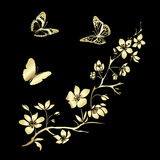 Fleurs de cerisier et papillons de brindille Photographie stock libre de droits