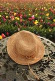 Fleurs de chapeau de paille et de tulipe Photographie stock libre de droits