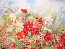 Fleurs de chiot et peinture abstraite de camomille. illustration libre de droits