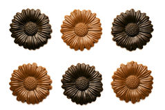 Fleurs de chocolat d'isolement sur le blanc Photos stock