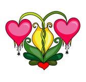 Fleurs de coeur Image libre de droits