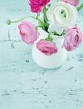 Fleurs de couleur en pastel sur le fond chic minable Photographie stock libre de droits