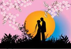 Fleurs de couples et de source Photos stock