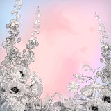 Fleurs de croquis d'encre de crayon d'aquarelle de vecteur Image stock