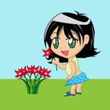 Fleurs de cueillette de fille de dessin animé Photo stock