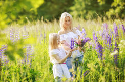 Fleurs de cueillette de fille et de mère d'enfant Photo stock