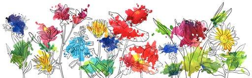 Fleurs de dessin de vecteur illustration libre de droits
