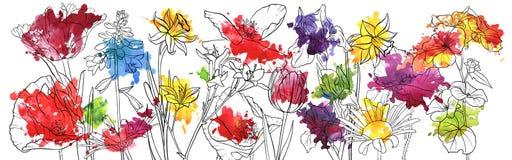 Fleurs de dessin de vecteur illustration stock