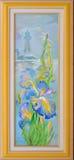 Fleurs de Douarnenez Beau paysage marin avec le phare et les iris de floraison Peinture à l'huile sur la toile images stock