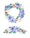Fleurs de feston d'aquarelle Photo stock
