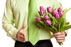 Fleurs de fixation d'homme Images stock