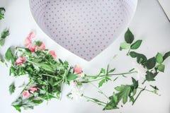 Fleurs de fleuriste coupant l'élagage de verts de boîte photos libres de droits