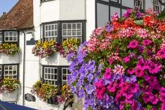 Fleurs de floraison et vieilles maisons, Henley sur la Tamise images stock