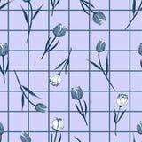 Fleurs de floraison tirées par la main sans couture bleues monotones de tulipe sur la ligne de grille fond de contrôle Conception illustration libre de droits