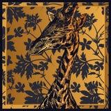 Fleurs de géranium et feuilles et tête de la girafe animale africaine c illustration stock