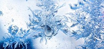Fleurs de glace sur l'hublot Photo stock
