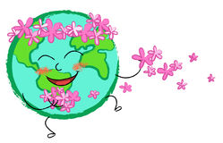 Fleurs de globe heureuses Images libres de droits