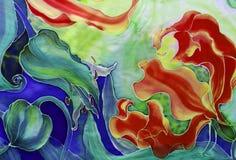 Fleurs de gloriosis avec les feuilles et les bourgeons - dessin sur la soie batik Fleur asiatique et africaine Employez les matér photographie stock